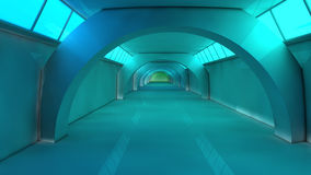 Futuristic corridor. 3d design. White futuristic corridor and light Stock Images