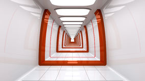 Futuristic corridor. 3d design of a futuristic corridor Royalty Free Stock Images
