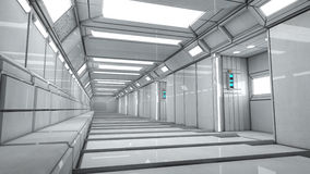 Futuristic corridor interior Stock Photo