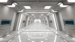 Futuristic corridor interior. 3d Futuristic corridor interior architecture Stock Photo