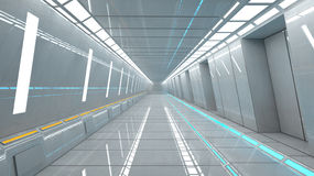 Futuristic corridor interior Stock Photos