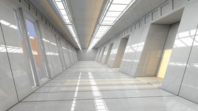 Futuristic corridor interior Royalty Free Stock Photos