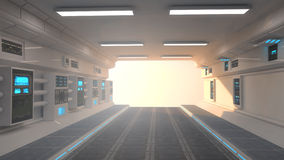 Futuristic corridor interior and sunset Stock Image