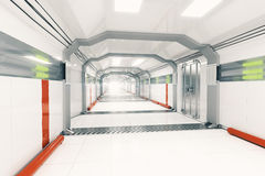 Futuristic corridor side. Abstract light futuristic corridor interior. Side view, 3D Rendering Stock Photo