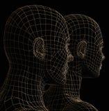 Futuristic couple silhouette stock illustration