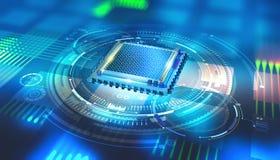 Futuristic CPU. Quantum processor in the global computer network. 3d illustration of digital cyberspace stock illustration