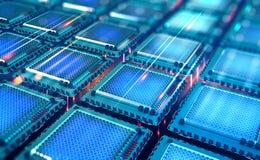 Futuristic CPU. Quantum processor in the global computer network stock illustration