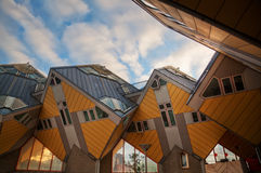 Futuristic cubic houses in Rotterdam. Cubic houses in Rotterdam, Netherlands, from architect Piet Blom Royalty Free Stock Photos