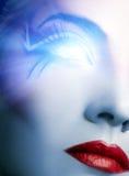 futuristic cyberframsida royaltyfria bilder