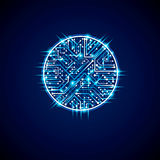 Futuristic cybernetic scheme, vector motherboard blue illustration with neon lights. Circular gleam element with circuit board te royalty free illustration