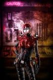 Futuristic cyberpunk soldier girl. 3D render illustration Royalty Free Stock Photos