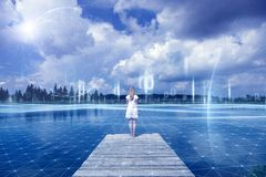 Futuristic cyberspace network with woman royalty free stock photos