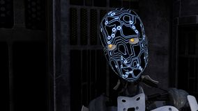Futuristic Cyborg in dark room Royalty Free Stock Photography