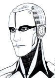 Futuristic cyborg illustration portrait isolated at white background stock illustration