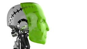 Futuristic cyborg. Side view of futuristic cyborg with green human face, white background Stock Images