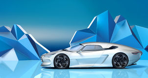 Futuristic 3d concept car Stock Photos