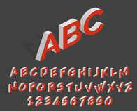 Futuristic 3d vector alphabet. Geometric isometric latin letters and numbers. Alphabet geometric and number 3d illustration Stock Photography