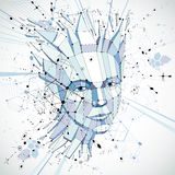 Futuristic 3d vector background made using Bauhaus elements. Head of woman exploding with thoughts created in low poly style, can. Be used in posters and stock illustration