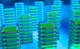 Futuristic Data center. Big Data analytics platform. Quantum processor in the global computer network vector illustration