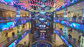Futuristic design of the atrium in the shopping center Evropeisky stock video