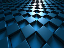 Futuristic Design Blue Chess Pattern Cubes Background Royalty Free Stock Images