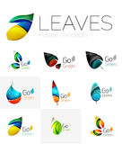 Futuristic design eco leaf logo set Stock Photos