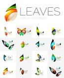 Futuristic design eco leaf logo set Royalty Free Stock Photography