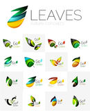 Futuristic design eco leaf logo set. Futuristic design eco leaf logos set. Colorful abstract geometric leaves, green concepts Stock Images