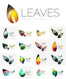 Futuristic design eco leaf logo set. Futuristic design eco leaf logos set. Colorful abstract geometric leaves, green concepts Stock Photos