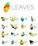 Futuristic design eco leaf logo set Stock Images