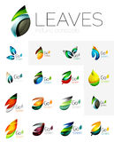 Futuristic design eco leaf logo set Royalty Free Stock Photo
