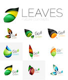 Futuristic design eco leaf logo set Royalty Free Stock Photo