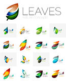 Futuristic design eco leaf logo set Royalty Free Stock Image