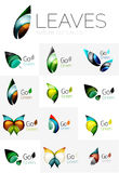 Futuristic design eco leaf logo set. Futuristic design eco leaf logos set. Colorful abstract geometric leaves, green concepts Stock Photo