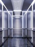 Futuristic design of an elevator cabin with mirrors with neon illumination and metal panels. Modern elevator design. Reflection to. Infinity. 3d rendering vector illustration