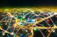 Cityscape at night and internet concept. royalty free stock images
