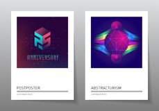 Futuristic design posters with abstract elements and gradients. Stock Photography