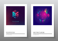 Futuristic design posters with abstract elements and gradients. Applicable for album covers, film placards, music posters, dj flyers and banner designs Stock Photos