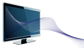 Futuristic design with tv and wavy lines. Vector illustration Royalty Free Stock Photo