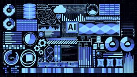 Futuristic detailed AI HUD including Digital Brain, Cloud computing, Database, Coding, and many digital elements in Blue Color
