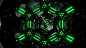 Futuristic digital abstract motion background Flight through an abstract endless tunnel of black-green rings. Looped 3D. Movement through an endless tunnel of stock video footage