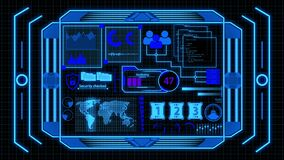 Futuristic Digital Data Analysis Screen With Blue Colored Details And Grid Background