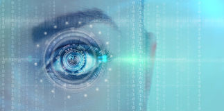 Futuristic digital eye. Close up of female futuristic digital eye Royalty Free Stock Photos