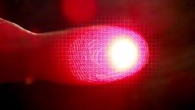 Futuristic digital processing of biometric fingerprint scanner, close-up. Futuristic digital processing of biometric fingerprint scanner stock video footage