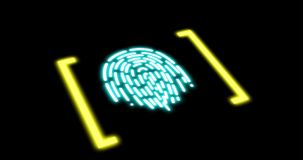 Futuristic digital processing of biometric fingerprint scanner. Concept of surveillance and security scanning of digital. Programs and fingerprint biometrics stock illustration