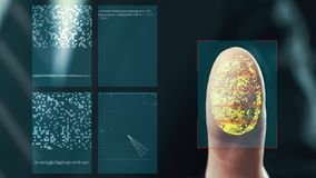 Futuristic digital processing of fingerprints as man holds his hand against a modern fingerprint scanner. Futuristic digital stock footage