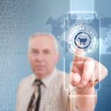 Futuristic digital technology. Man pressing shopping cart button, futuristic digital technology Royalty Free Stock Photos