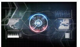 Futuristic- digital technology concept. Technology communication background. Blue technology background vector illustration. Futuristic interface. Connection