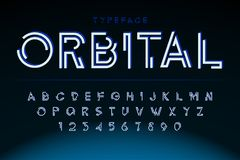 Futuristic display font design, alphabet, character set. Typography, letters and numbers vector illustration