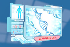 Futuristic DNA scanning medical procedure for monitoring health Stock Images